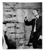 Watson And Crick With Dna Model Fleece Blanket