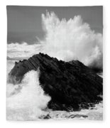 Wave At Shore Acres Bw Fleece Blanket