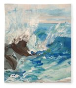 Wave At Sunset Beach Fleece Blanket