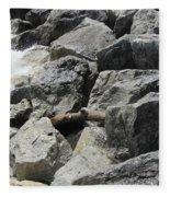 Waves And Rocks 4 Fleece Blanket