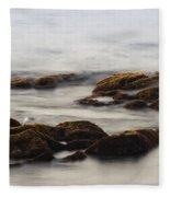 Waves And Rocks Fleece Blanket