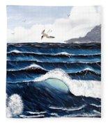 Waves And Tern Fleece Blanket