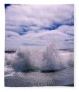 Waves Breaking At The Coast, Iceland Fleece Blanket