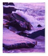 Waves  Breaking  On Jetties  Fleece Blanket