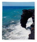 Waves Breaking On Rocks, Hawaii Fleece Blanket