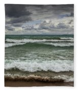 Waves Crashing On The Shore In Sturgeon Bay At Wilderness State Park Fleece Blanket