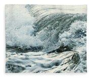 Waves In Stormy Ocean Fleece Blanket