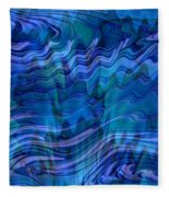 Waves Of Blue - Abstract Art Fleece Blanket