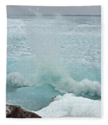 Waves Of Pancake Ice Crashing Ashore Fleece Blanket