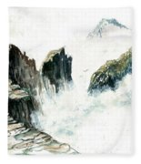 Waves On The Rocks Fleece Blanket