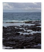 Waves Over  Rocks Fleece Blanket