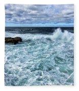 Waves To Rocks Fleece Blanket