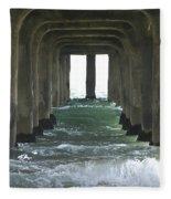 Waves Under The Pier Landscape Fleece Blanket