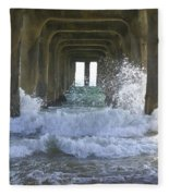 Waves Under The Pier Portrait Fleece Blanket