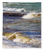 Waves - Wind - Fury Of The Sea Fleece Blanket