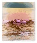 Waves With Sunset Fleece Blanket
