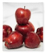 We Are Family - 6 Red Apples - Fresh Fruit - An Apple A Day - Orchard Fleece Blanket