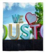 We Love Houston Texas Fleece Blanket