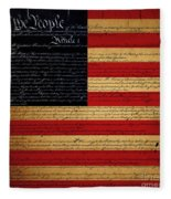 We The People - The Us Constitution With Flag - Square Fleece Blanket