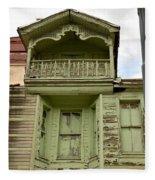 Weathered Old Green Wooden House Fleece Blanket