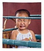 Weeping Baby In His Buggy Fleece Blanket
