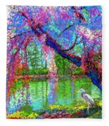 Weeping Beauty, Cherry Blossom Tree And Heron Fleece Blanket