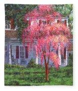 Weeping Cherry By The Veranda Fleece Blanket