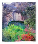 Weeping Rock At Zion National Park Fleece Blanket