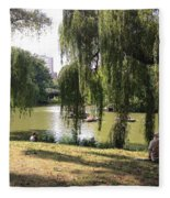 Weeping Willows In Central Park  Fleece Blanket