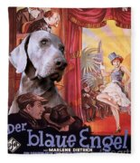 Weimaraner Art Canvas Print - Der Blaue Engel Movie Poster Fleece Blanket