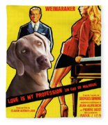 Weimaraner Art Canvas Print - Love Is My Profession Movie Poster Fleece Blanket