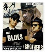 Weimaraner Art Canvas Print - The Blues Brothers Movie Poster Fleece Blanket