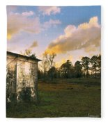 Old Well House And Golden Clouds Fleece Blanket