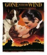 Welsh Corgi Cardigan Art Canvas Print - Gone With The Wind Movie Poster Fleece Blanket