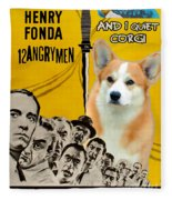 Welsh Corgi Pembroke Art Canvas Print - 12 Angry Men Movie Poster Fleece Blanket