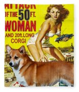 Welsh Corgi Pembroke Art Canvas Print - Attack Of The 50ft Woman Movie Poster Fleece Blanket