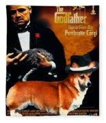 Welsh Corgi Pembroke Art Canvas Print - The Godfather Movie Poster Fleece Blanket