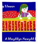 Welsh Snowman Bedtime  Fleece Blanket