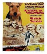 Welsh Terrier Art Canvas Print - North By Northwest Movie Poster Fleece Blanket