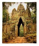 West Gate To Angkor Thom Fleece Blanket