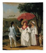 West Indian Landscape With Figures Promenading Before A Stream Fleece Blanket