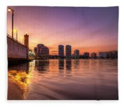 West Palm Beach Skyline At Dusk Fleece Blanket