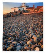 West Point Lighthouse Rocks Fleece Blanket
