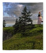West Quoddy Head Lighthouse Panorama Fleece Blanket