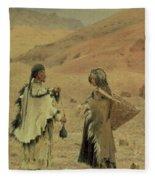 West Tibetans, 1875 Oil On Canvas Fleece Blanket