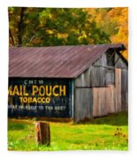West Virginia Barn Oil Fleece Blanket