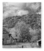 West Virginia Barns Monochrome Fleece Blanket