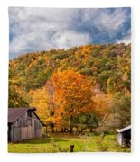 West Virginia Barns  Fleece Blanket