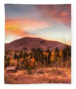 Western Barn At Sunset II Fleece Blanket