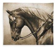 Western Horse Painting In Sepia Fleece Blanket